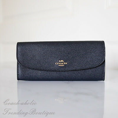 New Coach F59949 Crossgrain Leather Soft Wallet in Midnight