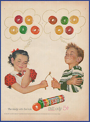 Vintage 1953 LIFE SAVERS Candy Wishbone Wish Art Decor Print Ad 50's