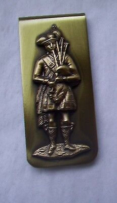 Vintage Solid Brass  Money Clip- INGA USA- ANTIQUE FINISH - BAGPIPER