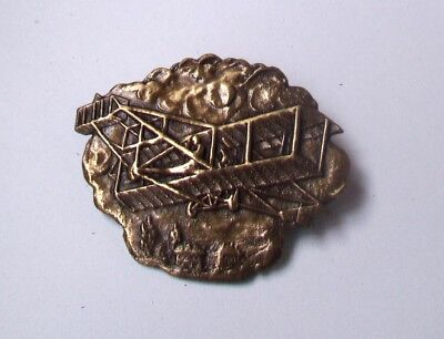 Vintage Brass  Pin Brooch ANTIQUE BRASS FINISH-WRIGHT BROTHERS PLANE DESIGN