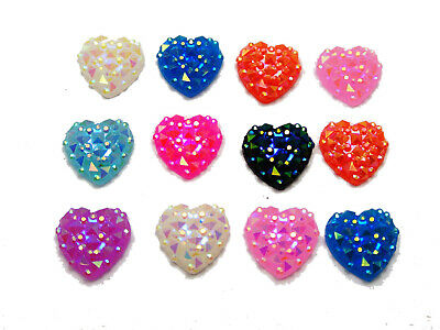 100 Mixed Color Flatback Resin Pyramid Heart Cabochon Gem 12mm Bow Center