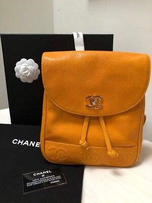 db070302fa2cdb Genuine vintage Chanel backpack in unique enriched mustard yellow caviar  leather