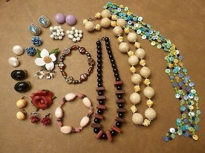 Lot Of Vintage Costume Jewelry - Clip On Earrings, Bracelets, Necklaces, Pins