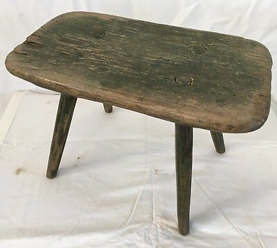 Antique Handmade Wooden Milking Stool Original Paint