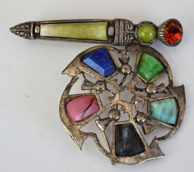 Vintage Lot of 2 Celtic Style pins Brooch agate 1signed Hollywood &1 Miracle
