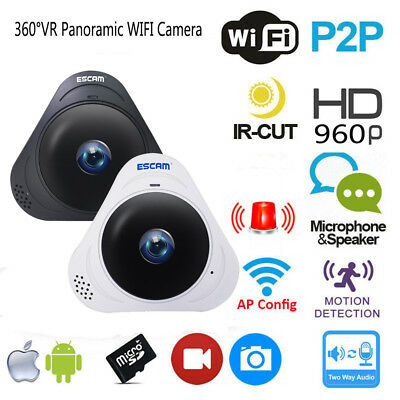 WiFi CCTV Camera 360° IP Panoramic Fisheye Wireless Home Security P2P 960P HD 3D