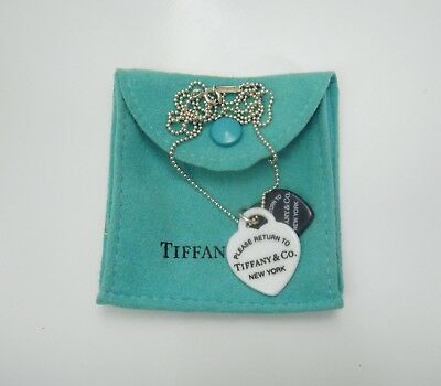 """Tiffany & Co. 925 Sterling Silver Chain Double Heart Necklace Size 18"""""""