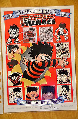 BEANO Dennis The Menace 50th Birthday Limited A4 Print #854 Signed - Not Annual
