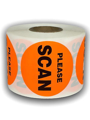 """PLEASE SCAN 2"""" Green Circle Shipping Mailing Instructions Labels (500/Roll)"""