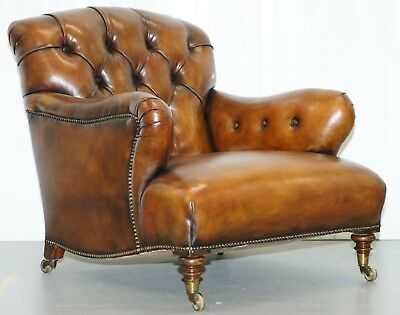 Rare Find Early Victorian Walnut Howard & Son's Fully Restored Club Armchair