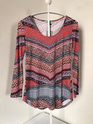 1b9da8e714d NWT Tencole Woman Loose Fitted Tunic Multicolor Long Sleeve Top Size M