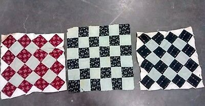 """3 Antique Vintage Hand Made Quilt Square Summer Weight Lancaster County PA ~16"""""""