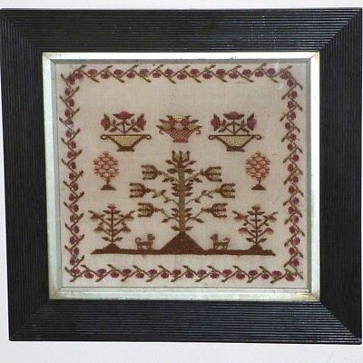Early Victorian 19th Century Silk Embroidered Small-Scale Motif Sampler