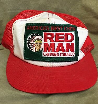 a4f13ab0fb7 VIntage RED MAN Chewing Tobacco Trucker Hat Cap Mesh Snapback Distressed USA