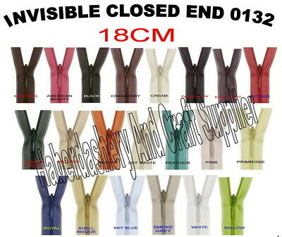 Birch Closed End Invisible Zipper/Zip*Pick 1 Color From List *Size 18Cm 7""
