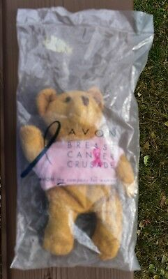 "NWT Avon 2001 Pink ribbon shirt Breast Cancer bear awareness crusade 7"" beanie"