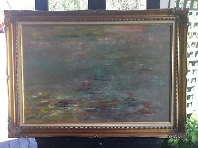 Donald Fraser waterlillies Framed Acrylic Painting