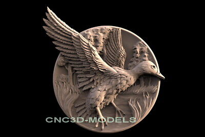 3D Model STL for CNC Router Engraver Carving Artcam Aspire Bird Goose Duck f583