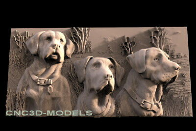 3D Model STL for CNC Router Engraver Carving Artcam Aspire Dog Family Hunt f590
