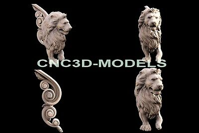 3D Model STL for CNC Router Engraver Carving Artcam Aspire Lion Furniture f600