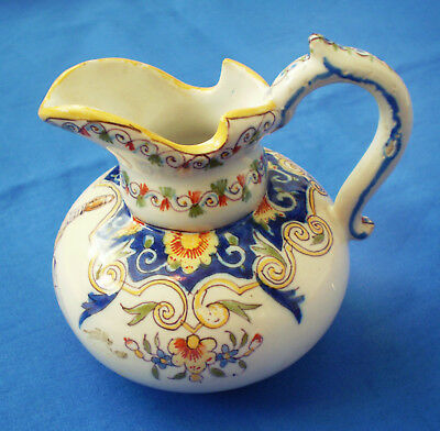 Antique French Faience Creamer PITCHER JJ FOURMAINTRAUX DESVRES France
