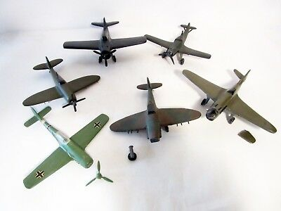 5 Hand Carved Solid Wood Wwii Model Fighter Airplanes ~ Some Need Repairs
