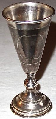 EXCEPTIONAL Antique STERLING SILVER Judaica KIDDUSH CUP w/HAND ENGRAVING~37G!