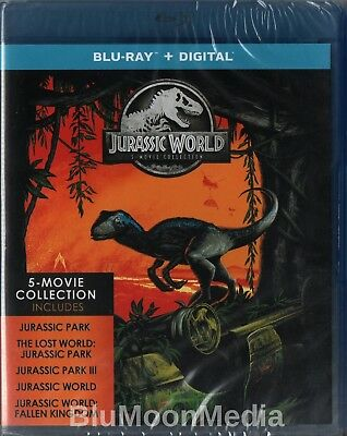 Jurassic Park 5 Movie Complete Collection BLU-RAY Set + Digital world Brand NEW