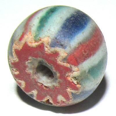 CHOICE SELECT ANTIQUE 1700s DUTCH 5-LAYER ASPEO CHEVRON GLASS TRADE BEAD