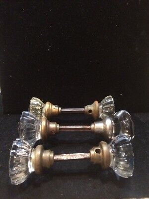 6 Antique Vintage 12 Point Glass Door Knobs Ornate Hardware Home House