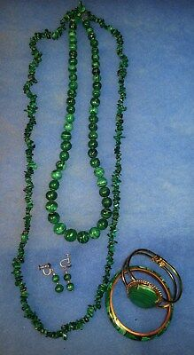 Vintage Estate Jewelry Solid Malachite Beads Necklaces Bangles Earrings Lot Of 5