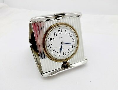 R.blackinton Art Deco Sterling Silver 8 Day Fold Up Travel Clock,octava Watch Co