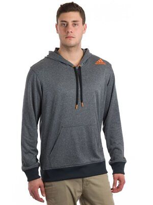 Adidas Mens Ultimate Base Pullover Fleece Hoody Grey Heather/Solar Zest  Large