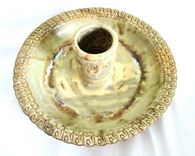 HAND MADE WHEEL THROWN ART POTTERY SIGNED MARKED 1 PC SERVING DISH w/CENTER CUP