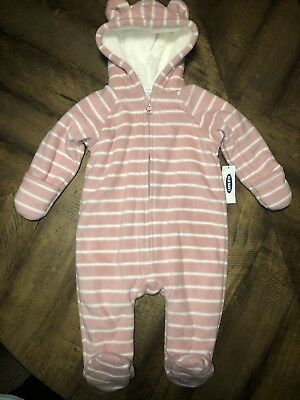 b503857ec OLD NAVY BUNTING Snowsuit Pram Pink White Stripe Baby Girl Size 3 ...