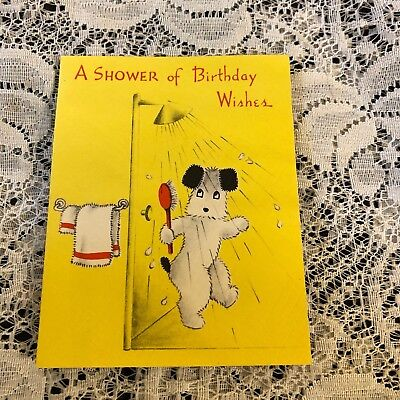 vintage greeting card birthday wishes puppy dog in shower norcross