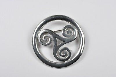 Vintage Silver Tone Pin Brooch- Circle With Swirls Celtic 1960s