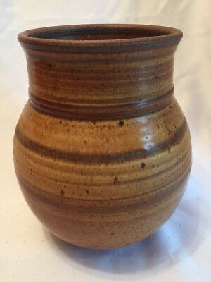 "Brown Swirl Wheel Thrown Pot Vase Mexican Pottery Style Unsigned Large 9"" x 6"""