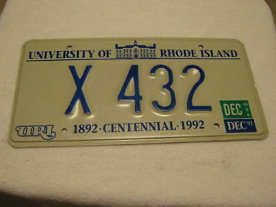 1994  University Of Rhode Island License Plate