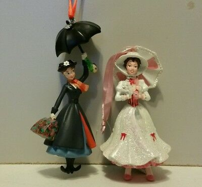 Disney Mary Poppins Figures Christmas Ornaments Set Of 2
