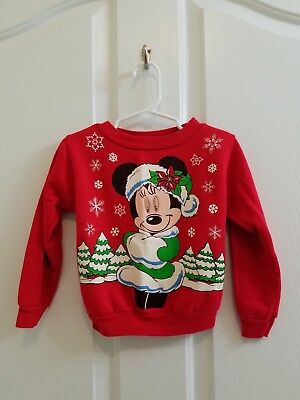 Vintage Toddler Girl Minnie Mouse Christmas Sweatshirt Size 3T