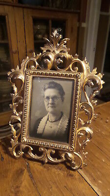 Antique Ornate CAST IRON FRAME, GOLD, VICTORIAN