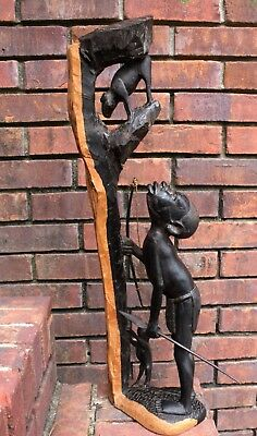 Makonde Ebony Carving of a Hunter, Dog and Treed Monkey, Tanzania Early 60s