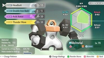 Pokemon Let's Go! Shiny 6 IV Meltan OR Melmetal (Fast Delivery) (NEEDS NSO SUB)