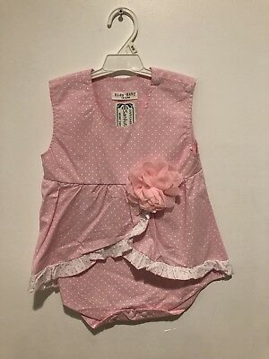 Pink Romper with White Polko Dots, Flower Accent. Girls 18-24 Months