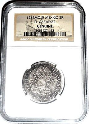 1782 MO F 2 Reales El Cazador Shipwreck Coin,NGC Certified,Excellent Condition