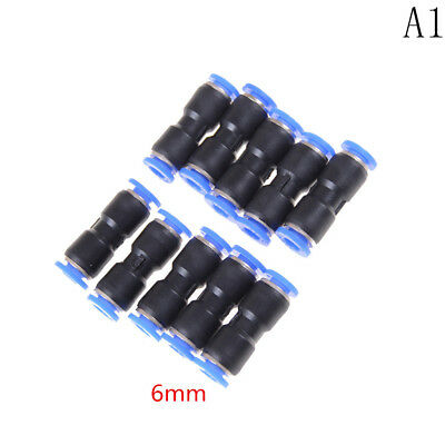 10 PCS 6mm Pneumatic Air Quick Push to Connect Fitting Straight Tube KU