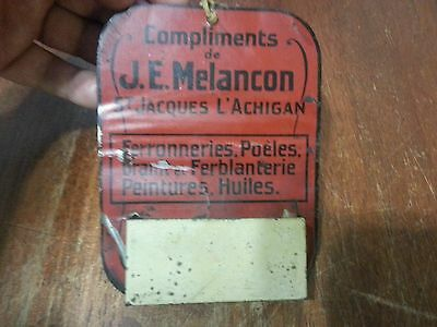 Vintage advertising j.e melancon metal match quebec  box holder stove