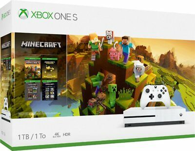 New Sealed Xbox One S 1TB Minecraft Creators Bundle w/ 4K Ultra HD Bluray White