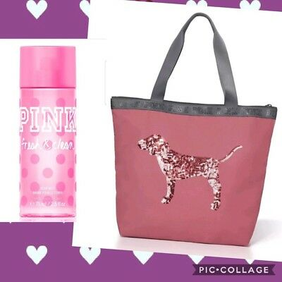 NEW Victoria's Secret Pink Black Friday 2016 Bling Dog Tote Fresh & Clean Mist